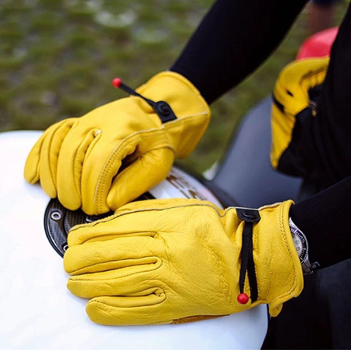 革手袋 アウトドア キャンプ ツーリング 男女兼用 サイズL 作業 バイク 焚火 レザーグローブ ハーレー グローブ 手袋