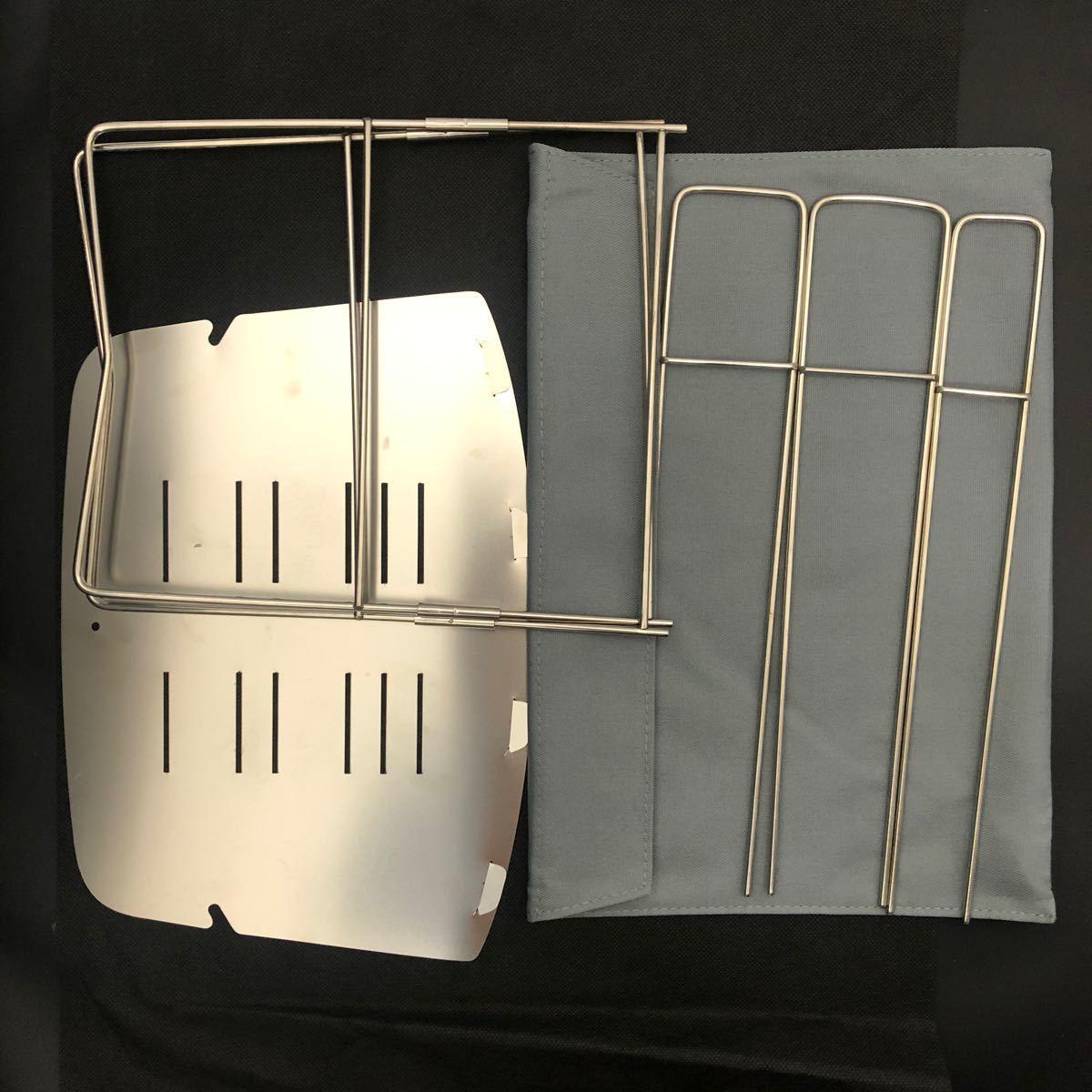 焚き火台 超人気 折り畳み式 頑丈で小型 バーベキューコンロ スピット3本付き ソロキャンプ 高品質
