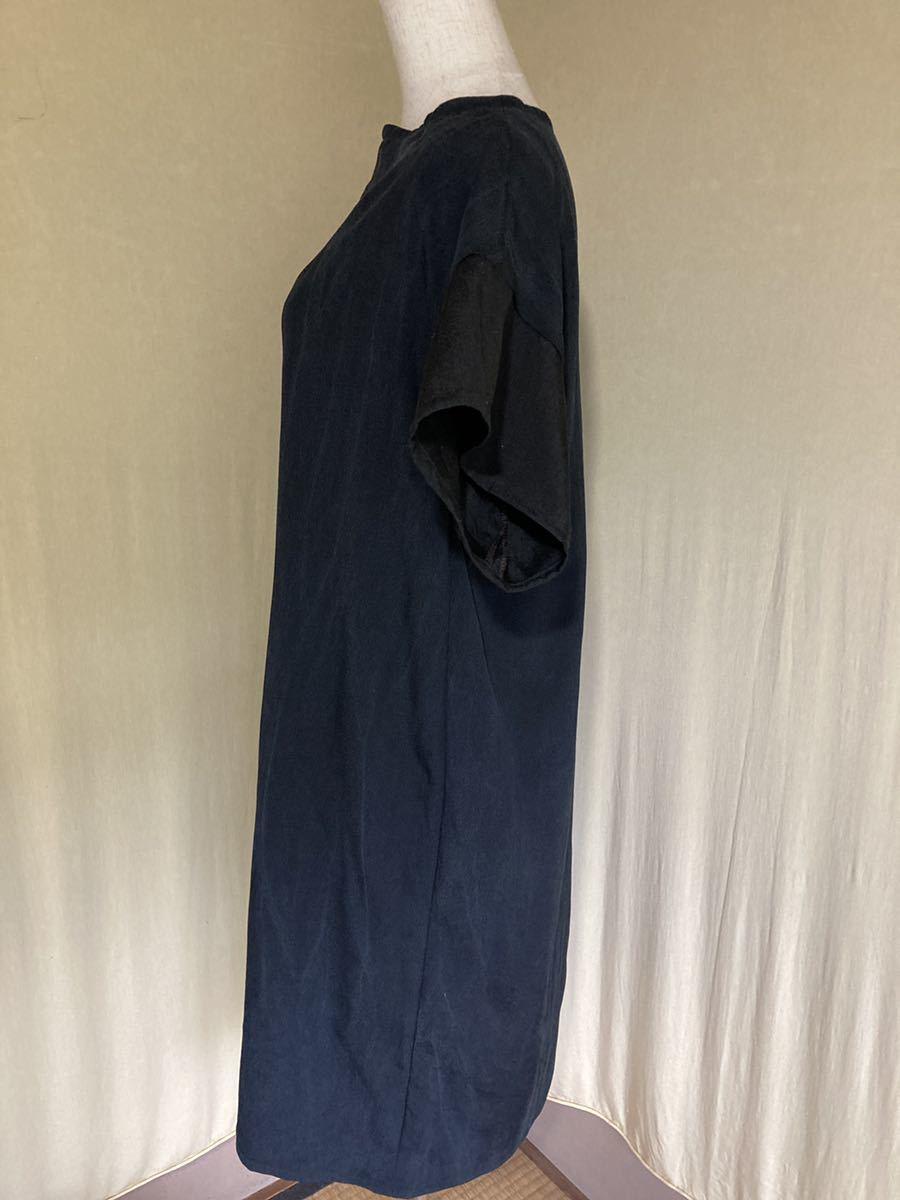 着物リメイク 直線ワンピース チュニック 黒 半袖 ハンドメイド