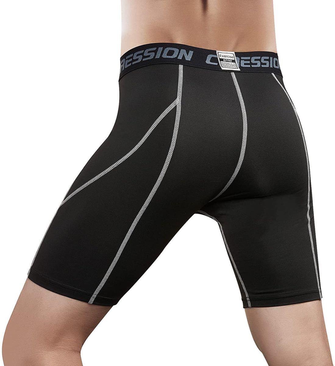 コンプレッション ショート パンツ スポーツ UVカット + 吸汗速乾 加圧