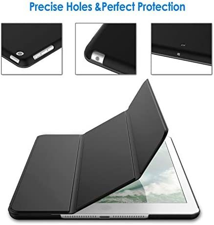 JEDirect iPad Air ケース (第1世代) レザー 三つ折スタンド オートスリープ機能 スマートカバー (ブラック)_画像5