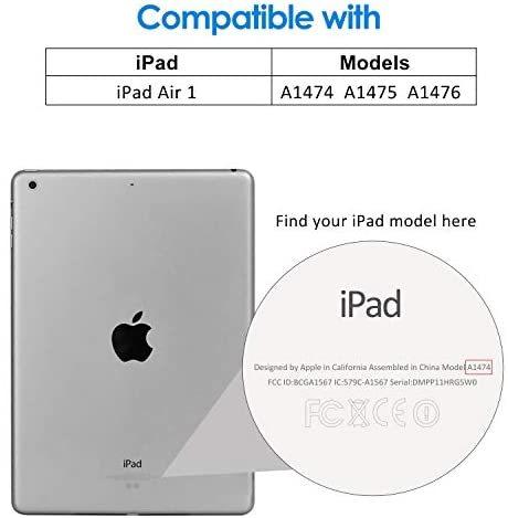 JEDirect iPad Air ケース (第1世代) レザー 三つ折スタンド オートスリープ機能 スマートカバー (ブラック)_画像2