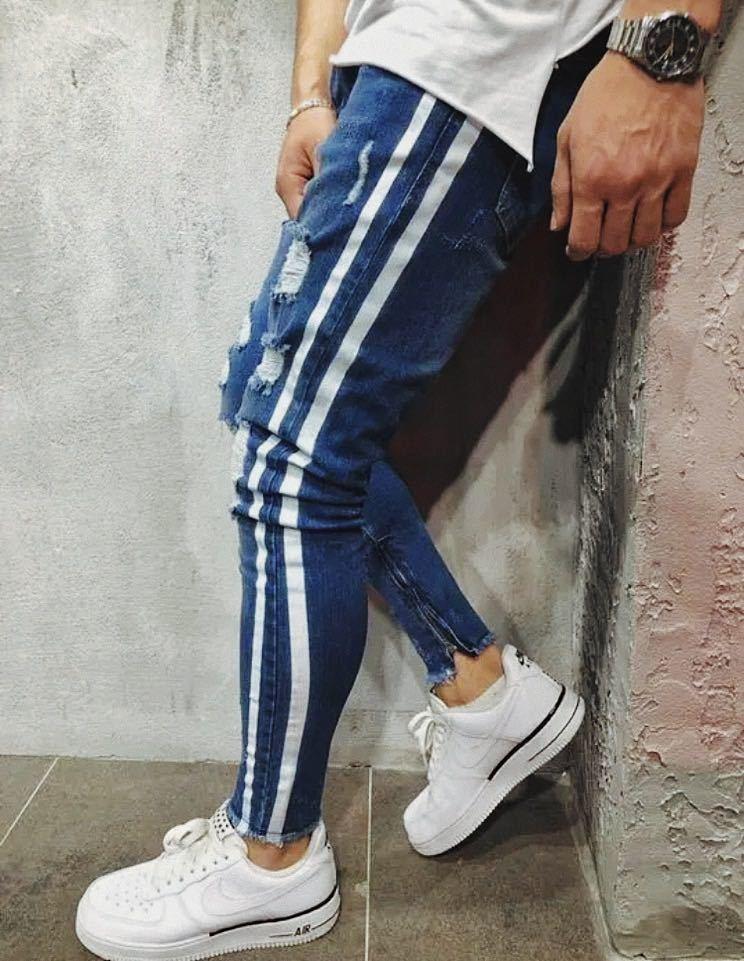 ダメージスキニージーンズ ジョガーパンツ ボトムス デニムパンツ メンズジーンズ L