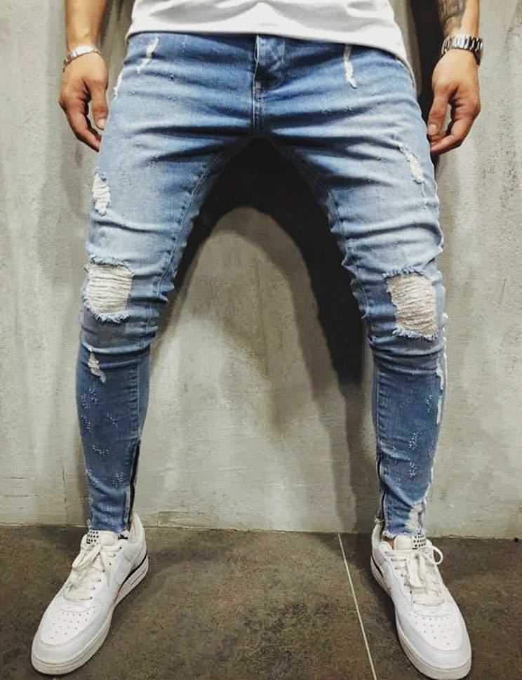 ダメージスキニージーンズ ジョガーパンツ ボトムス デニムパンツ メンズジーンズ L XL