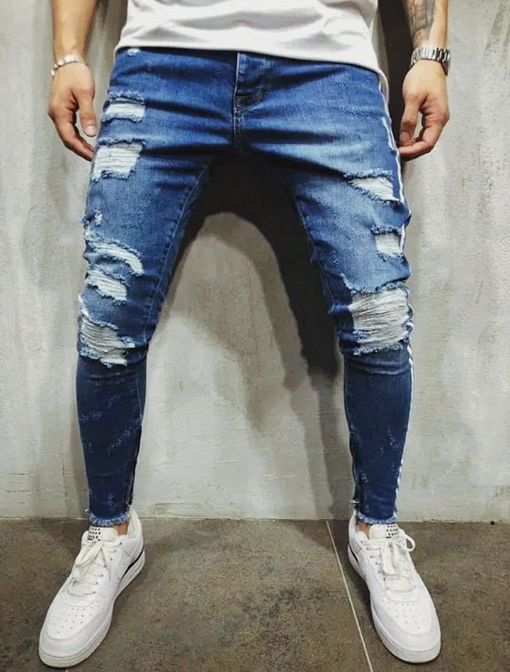 ダメージスキニージーンズ ジョガーパンツ ボトムス デニムパンツ メンズジーンズ L XL ブルー