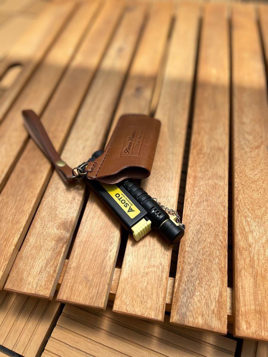 チョコカラーsotoスライドガストーチ本革カバーストラップtype