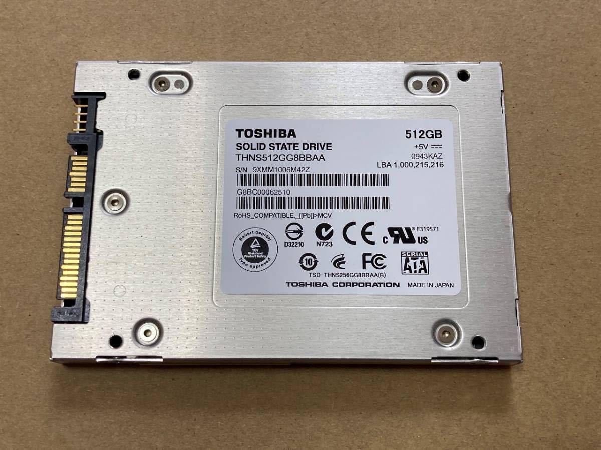 美品 TOSHIBA THNS512GG8BBAA HG2 512GB 希少 MLC チップ SATA2.0 2.5inch S-ATA SATA2 9.5mm 東芝 ②