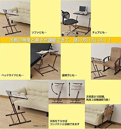 ダークブラウン 山善 昇降式 サイドテーブル 幅55×奥行46-51×高さ60.5-84cm 天板の角度_画像2