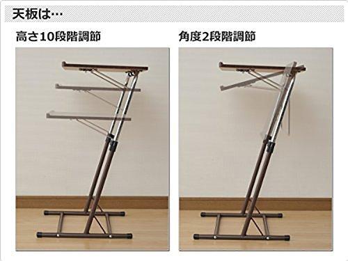 ダークブラウン 山善 昇降式 サイドテーブル 幅55×奥行46-51×高さ60.5-84cm 天板の角度_画像3