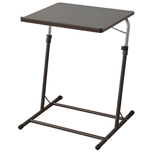 ダークブラウン 山善 昇降式 サイドテーブル 幅55×奥行46-51×高さ60.5-84cm 天板の角度_画像1