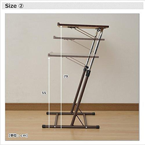 ダークブラウン 山善 昇降式 サイドテーブル 幅55×奥行46-51×高さ60.5-84cm 天板の角度_画像7