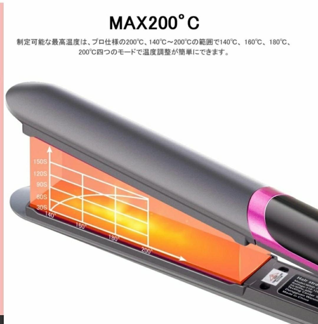 ヘアアイロン 2way コテ 32CM ストレートアイロン マイナスイオン 温度LCD表示 140℃~200℃ 4段階温度調節