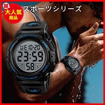 2-ブルー 腕時計 メンズ デジタル スポーツ 50メートル防水 おしゃれ 多機能 LED表示 アウトドア 腕時計(ブルー)_画像3