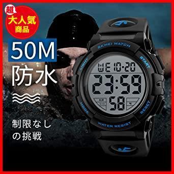 2-ブルー 腕時計 メンズ デジタル スポーツ 50メートル防水 おしゃれ 多機能 LED表示 アウトドア 腕時計(ブルー)_画像5