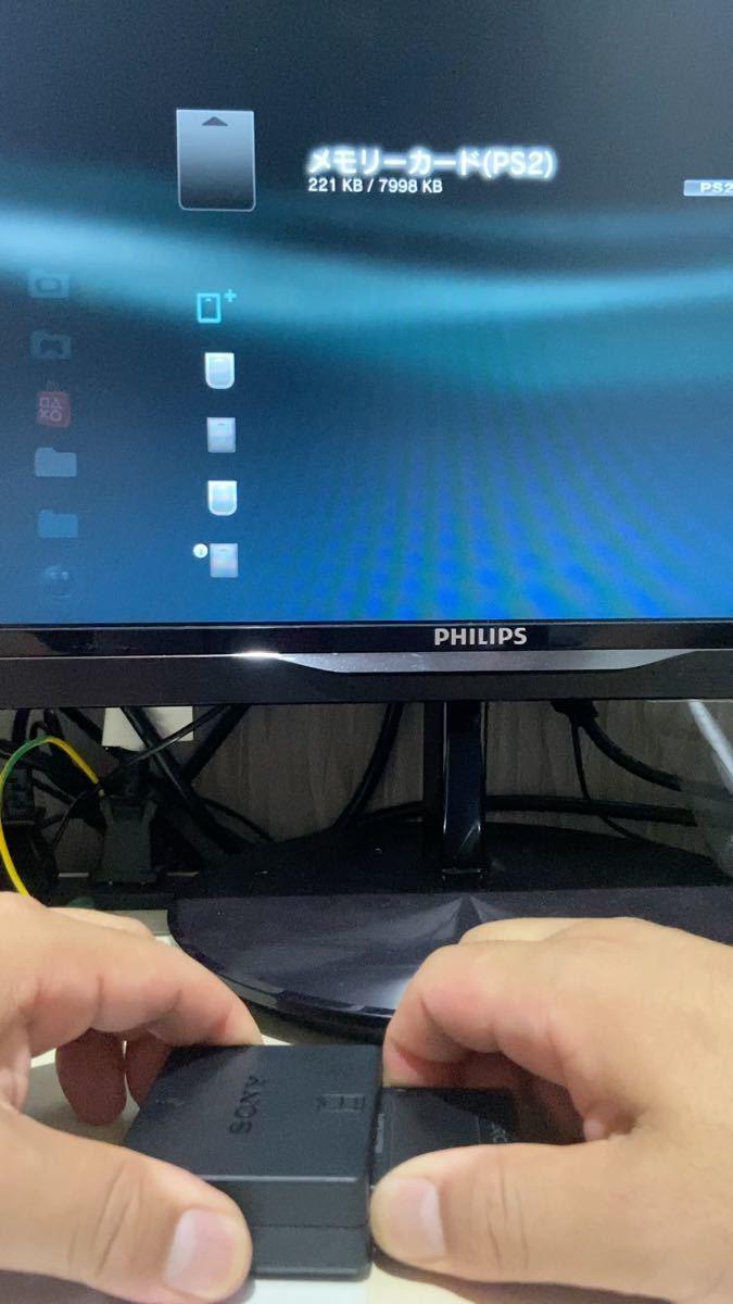 【動作確認済み】メモリーカードアダプター PS2純正8MBメモリーカードセットPS3 SONY クリアデータ多数