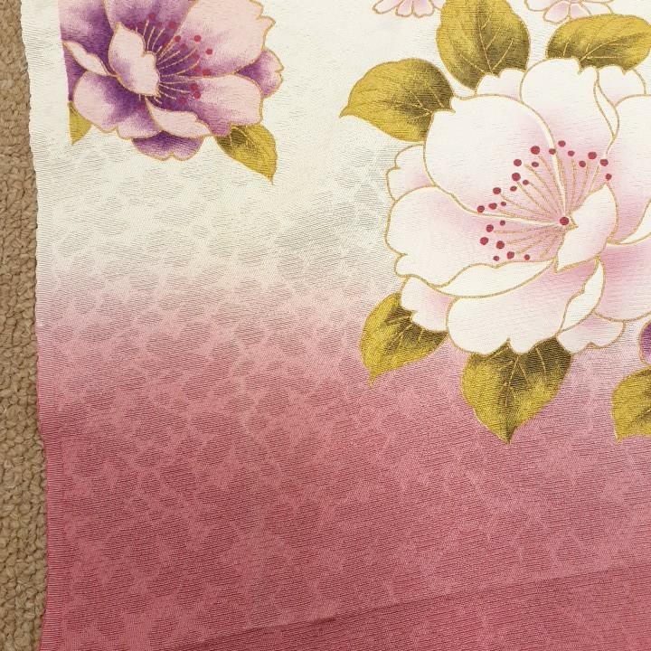 正絹 53107 白色ピンク色ぼかし シルク 360cm はぎれ ハギレ リメイク ハンドメイド