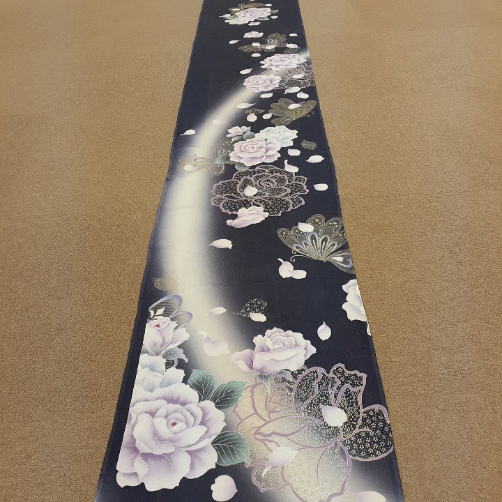 正絹 60345 グレーっぽい紺色紺紫色 シルク360cm はぎれ ハギレ リメイク ハンドメイド