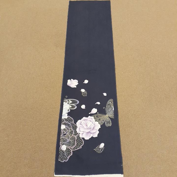 正絹 60344 グレーっぽい紺色紺紫色 シルク150cm はぎれ ハギレ リメイク ハンドメイド