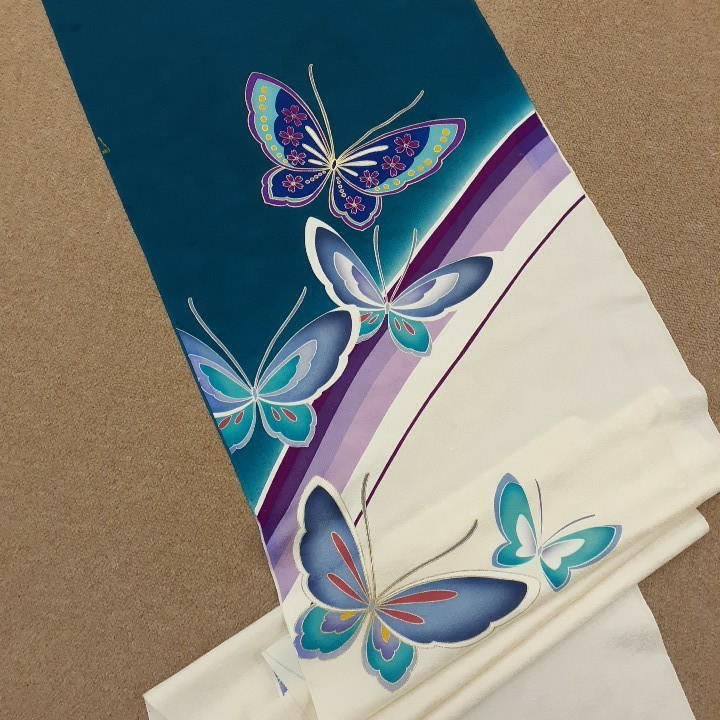 正絹 60482 ブルー 白色 蝶々 ラインストーン シルク350cm はぎれ ハギレ リメイク ハンドメイド