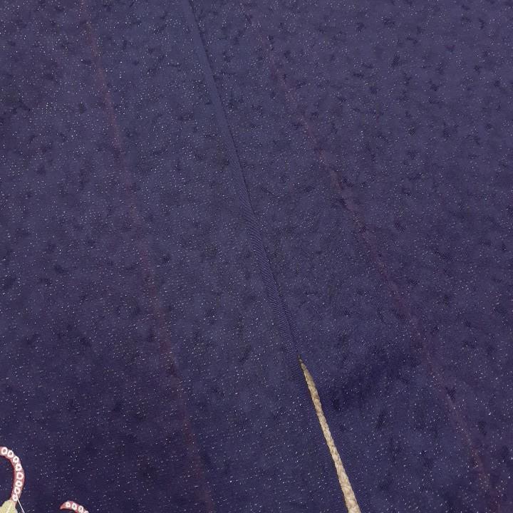53109 60704 おまとめ 専用 紺色 紺紫色 花柄 シルク350cm  はぎれ ハギレ リメイク ハンドメイド