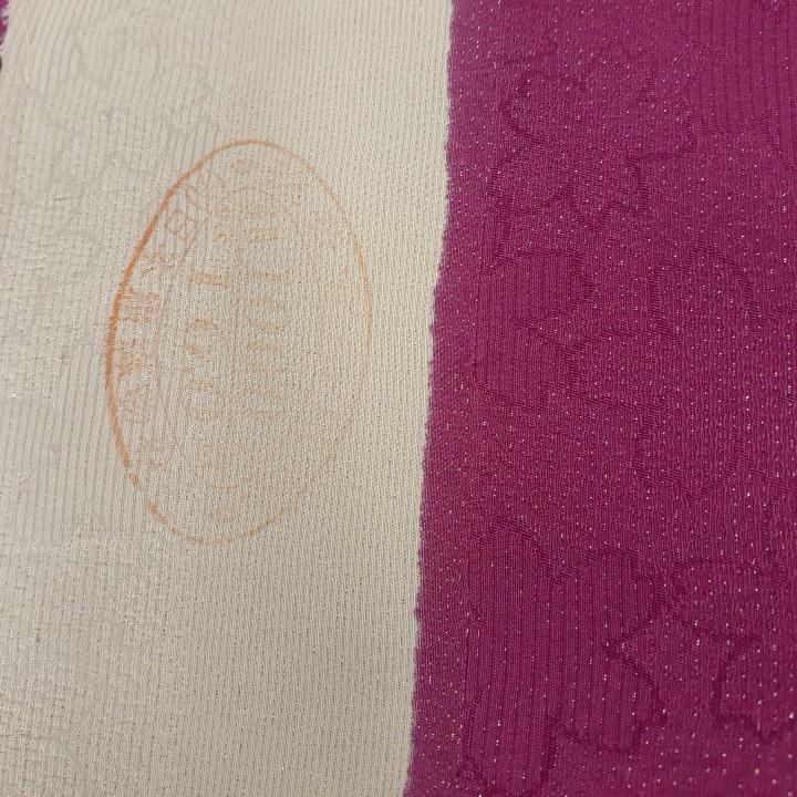 正絹 61008 濃いピンク 花柄 蝶々 シルク230cm はぎれ ハギレ リメイク ハンドメイド