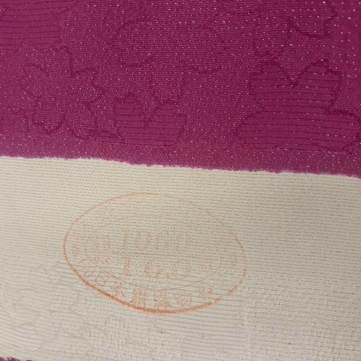 正絹 61009 濃いピンク 花柄 蝶々 シルク230cm はぎれ ハギレ リメイク ハンドメイド