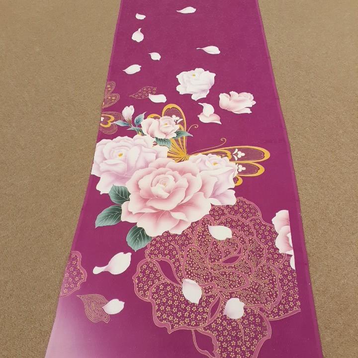 正絹 61002 ピンク 花柄 桜 蝶々 シルク350cm はぎれ ハギレ リメイク ハンドメイド