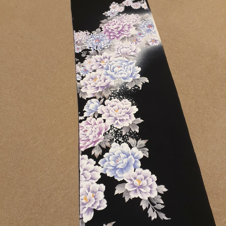 正絹 61102 黒色 菊 シルク200cm はぎれ ハギレ リメイク ハンドメイド