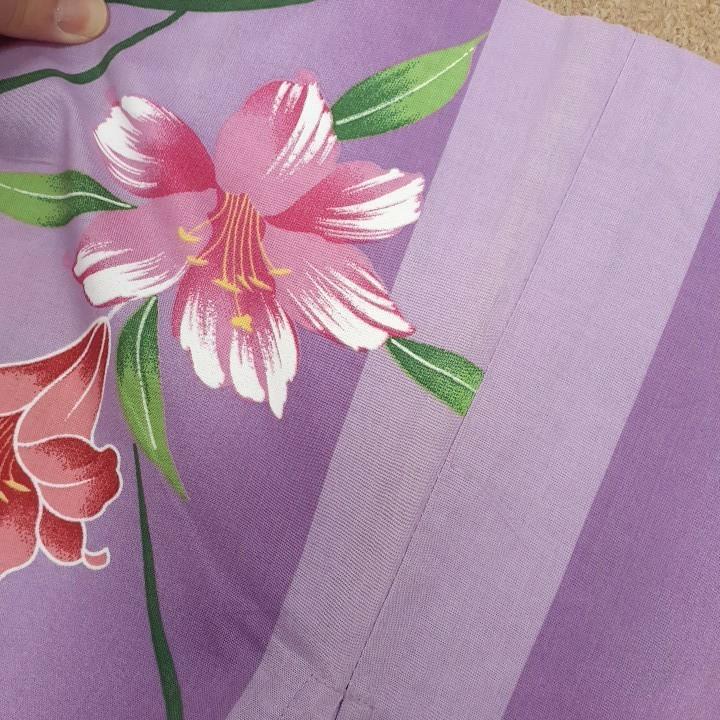 専用です。綿生地 浴衣 ゆかた 紫 花柄 リメイク ハンドメイド