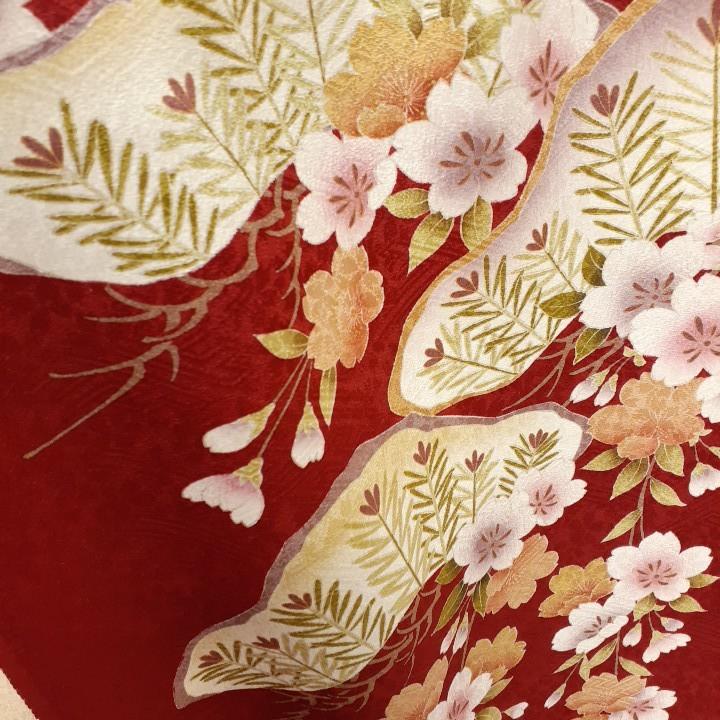 正絹 61401 赤色 焦げ茶色 花柄 桜 シルク230cm はぎれ ハギレ リメイク ハンドメイド
