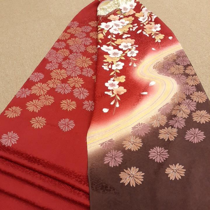 正絹 61402 赤色 焦げ茶色 花柄 桜 シルク230cm はぎれ ハギレ リメイク ハンドメイド