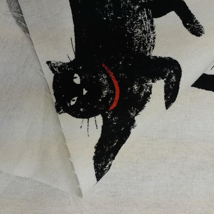生地 綿麻キャンバス 50×100cm 猫 猫柄 はぎれ ハギレ リメイク ハンドメイド
