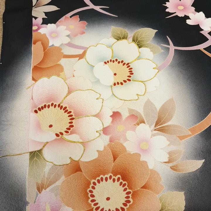 正絹 62501 黒色 花柄 桜 シルク350cm はぎれ ハギレ リメイク ハンドメイド