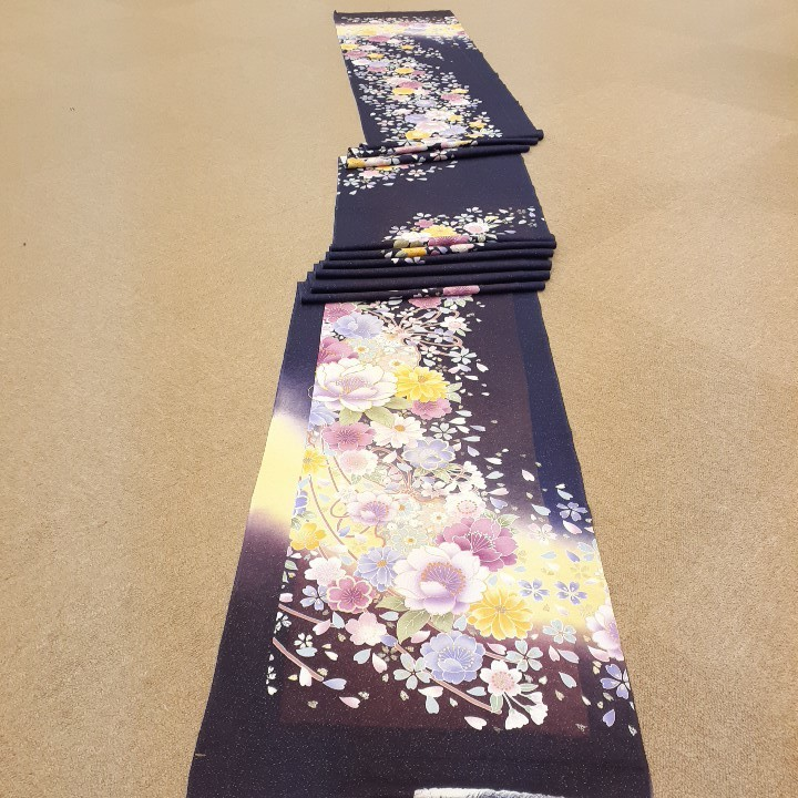 正絹 62801 紺色 紫色 花柄 ぼかし シルク350cm はぎれ ハギレ リメイク ハンドメイド