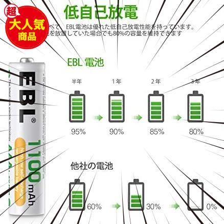 EBL 単4形充電池 充電式ニッケル水素電池 高容量1100mAh 4本入り 約1200回使用可能 ケース1個付き 単四充電池 AAAバッテリ AAA battery_画像6