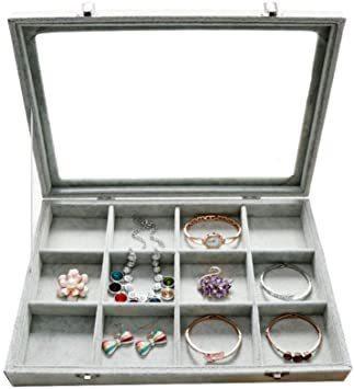 I ジュエリーケース アクセサリーボックス ピアス イヤリングケース 耳飾り収納/ネックレス収納/指輪収納 ケース ベルベット_画像1