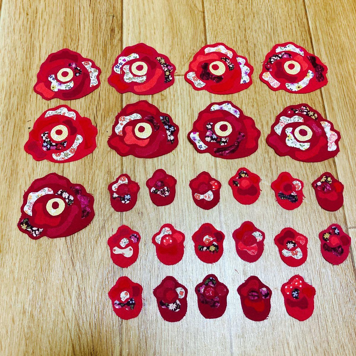 モチーフ バラの花 9枚 蕾 17枚 ハンドメイド