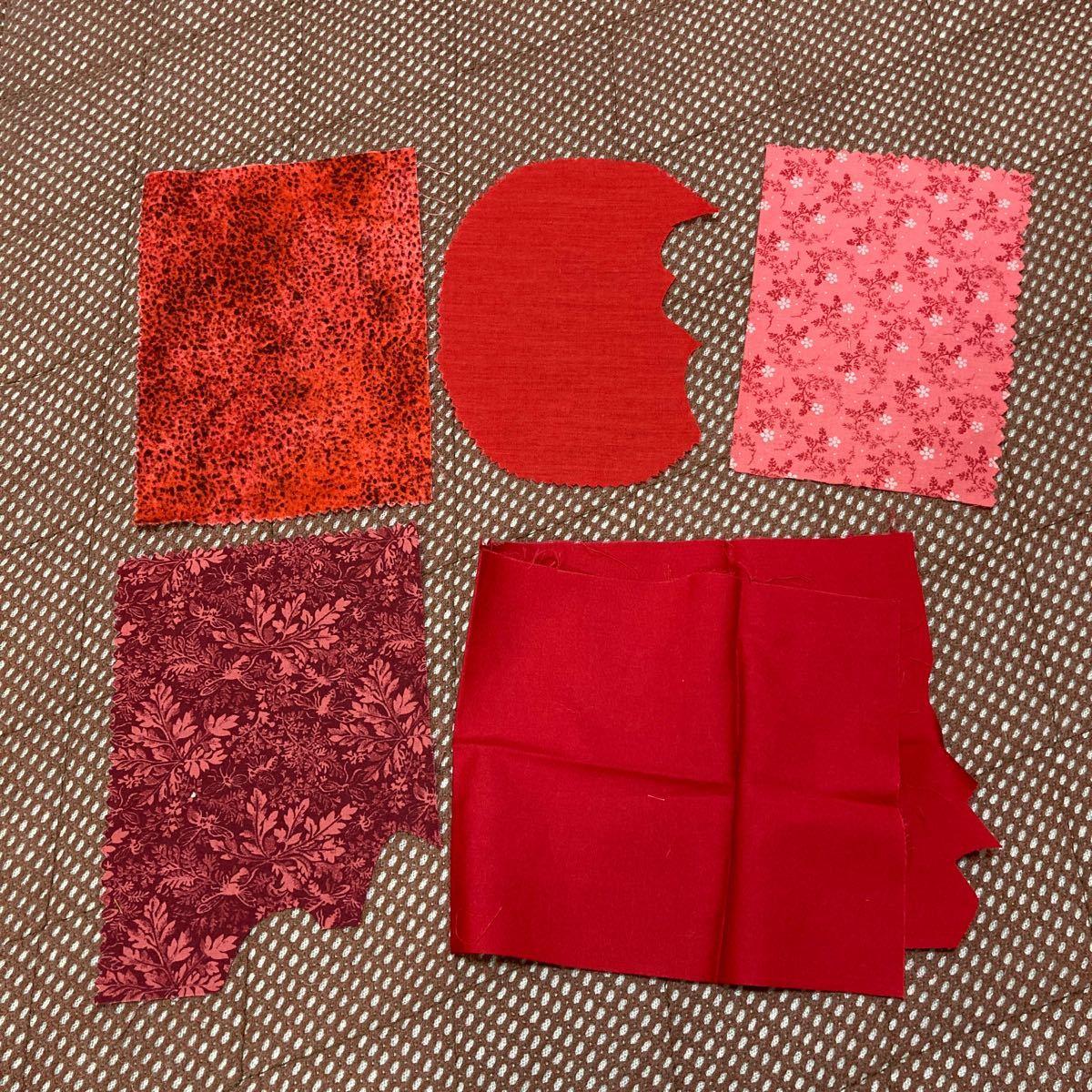 カットクロス  ハギレ 赤 ピンク セット