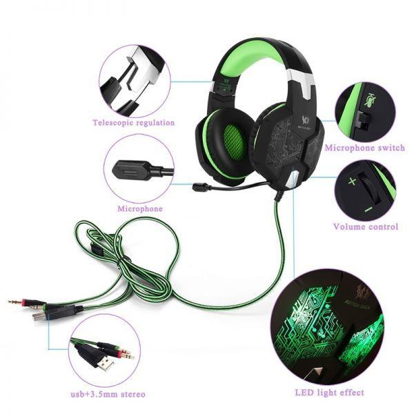 【選べる8タイプ ケーブル付き】 ゲーミングステレオヘッドホンヘッドセット 高音質 マイク LEDライト 快適装着 PC/PS4/XBOX_画像1