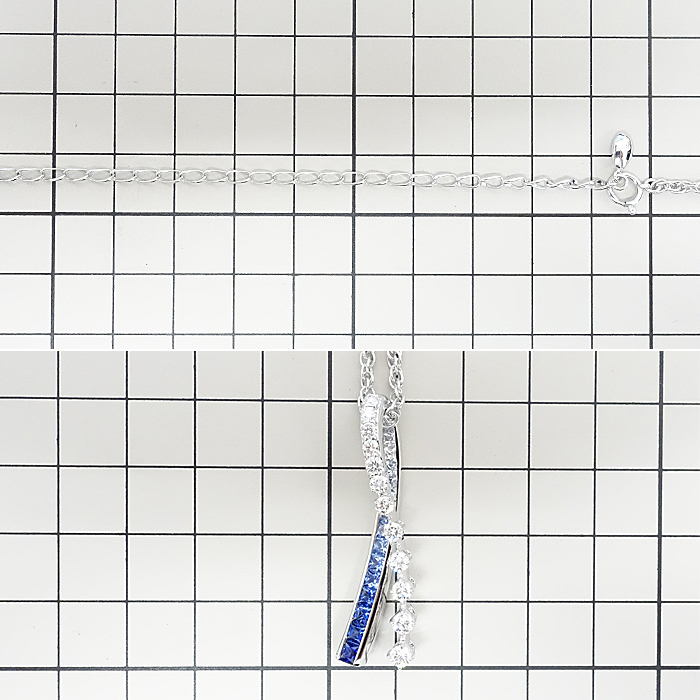 【SH59192】ジュネ サファイア ネックレス 1.50ct D0.80ct K18 ホワイトゴールド Jeunet【中古】_画像2
