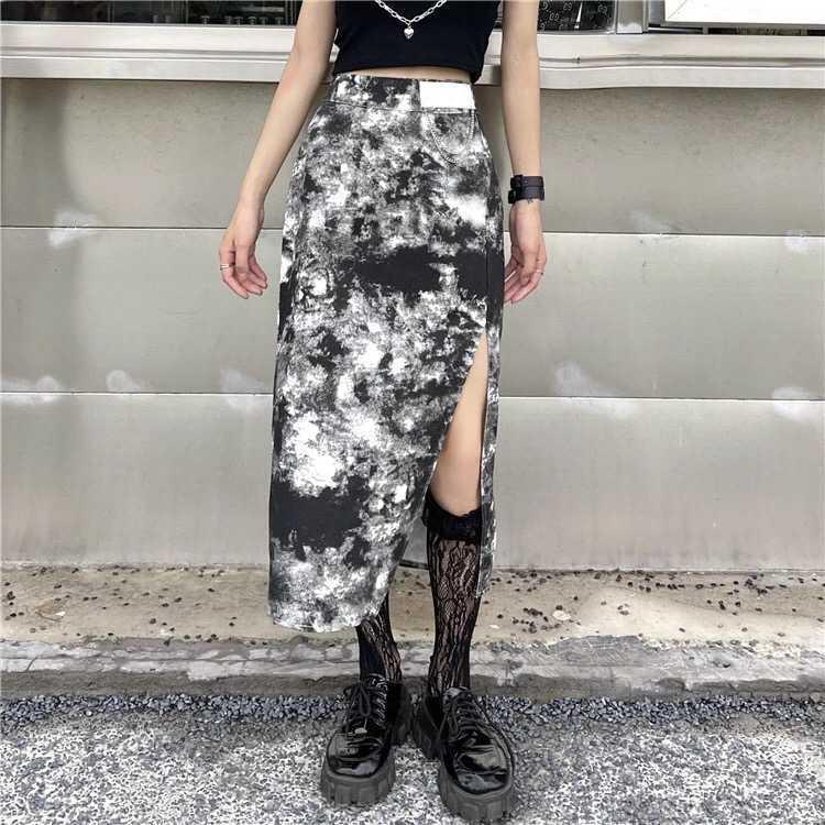 スカート スリット ハイウエスト ロングスカート タイト オルチャン 韓国 原宿 渋谷