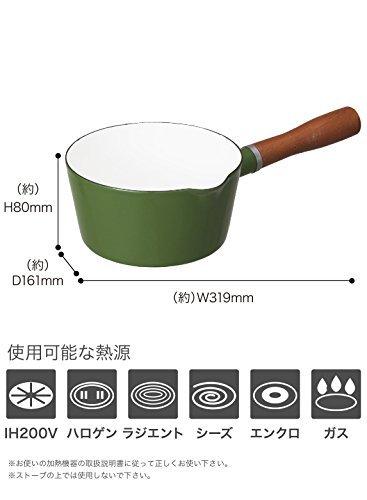 グリーン 16cm シービージャパン 片手鍋 ブリティッシュグリーン IH対応 16cm ノルディカ ミルクパン ホーロー A_画像6