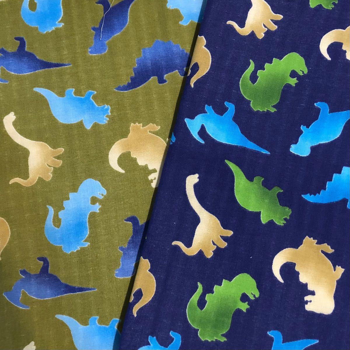 ダブルガーゼ生地 恐竜柄 2色セット