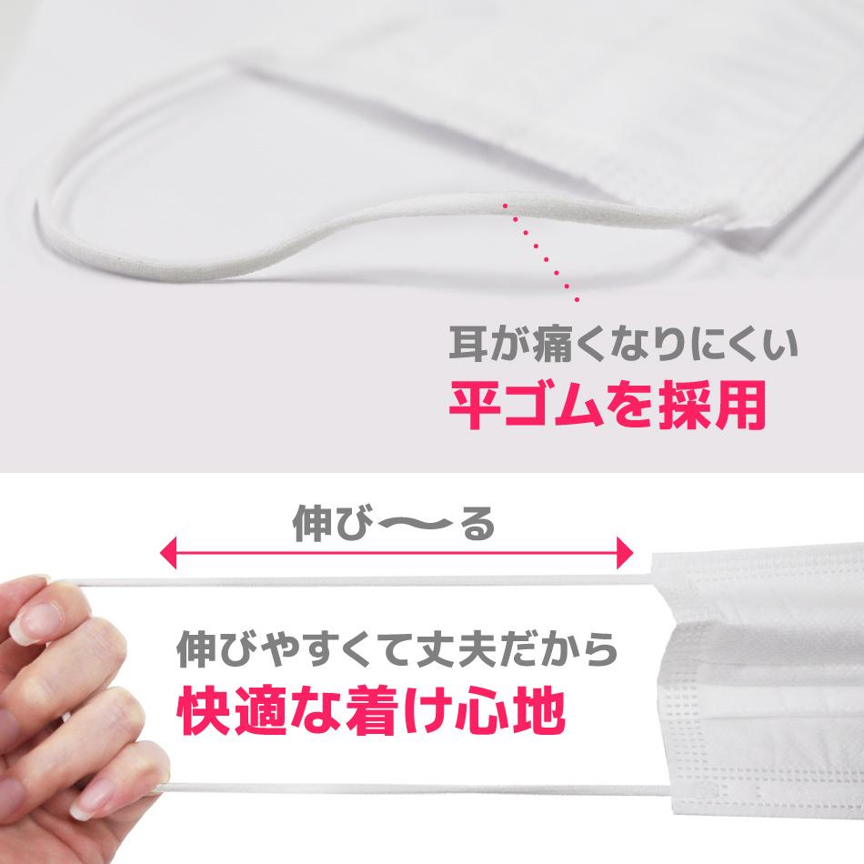 不織布マスク 50枚 10枚ずつ個包装 ホワイト 白 使い捨てマスク 三層構造 飛沫防止 99%カットフィルター 平ゴム やわらかマスク_画像5