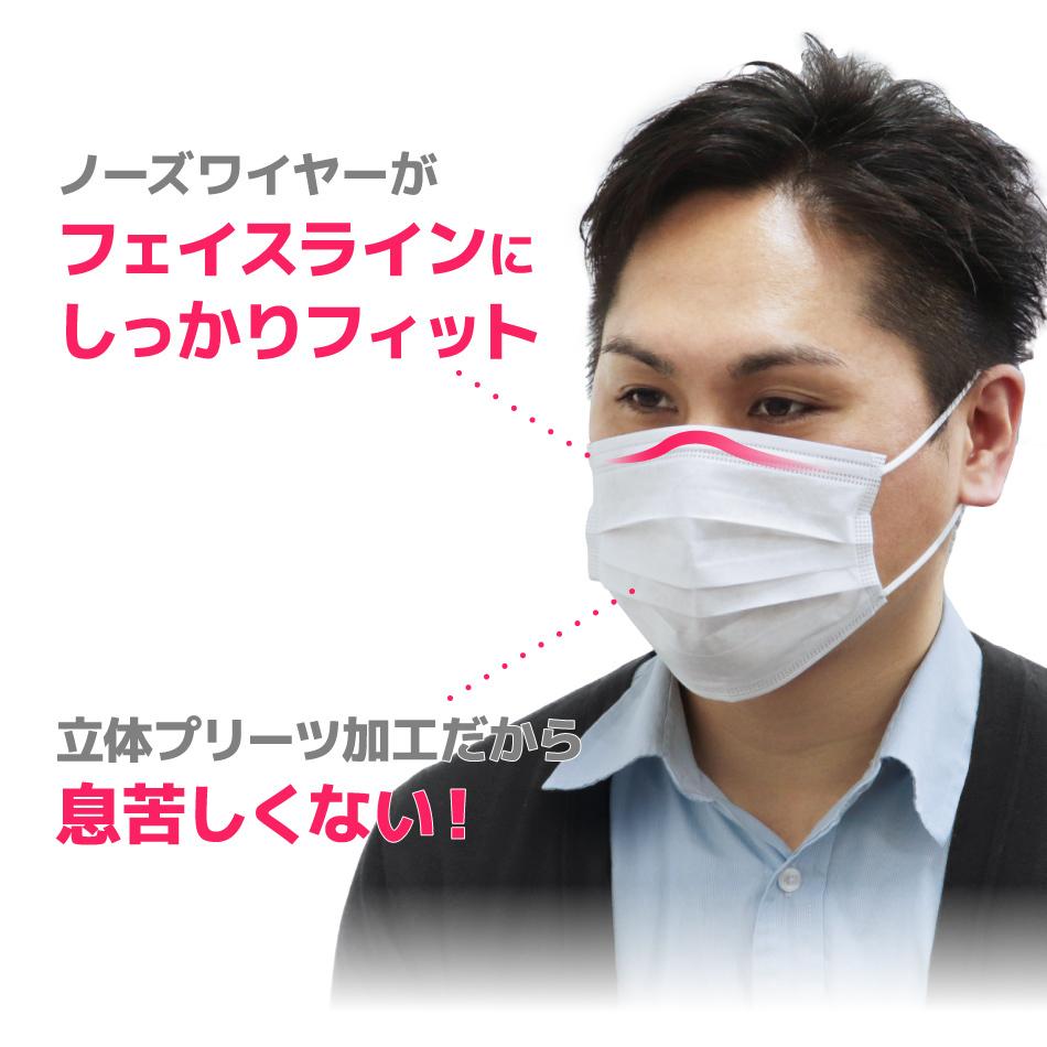 不織布マスク 50枚 10枚ずつ個包装 ホワイト 白 使い捨てマスク 三層構造 飛沫防止 99%カットフィルター 平ゴム やわらかマスク_画像3