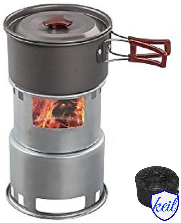 焚き火台 薪ストーブ キャンプ ミニ型 コンロ ウッドストーブ コンパクト 多機能 メッシュバッグ付き グレー 5人用