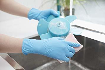 ブルー Medium ダンロップ ホームプロダクツ ゴム手袋 使い捨て ニトリル 極薄 パウダーフリー ブルー M 調理 掃除_画像5
