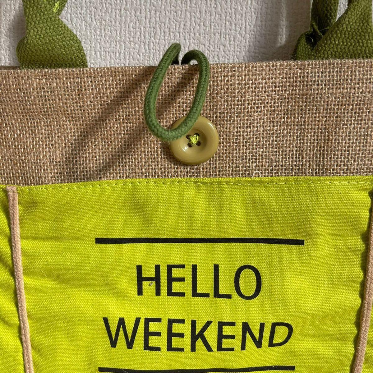 ジュートバッグ 春 夏 トートバッグ ロゴバッグ 緑 麻バッグ ロゴ入り 韓国 ミニバッグ エコバッグ マザーズバッグ リゾート