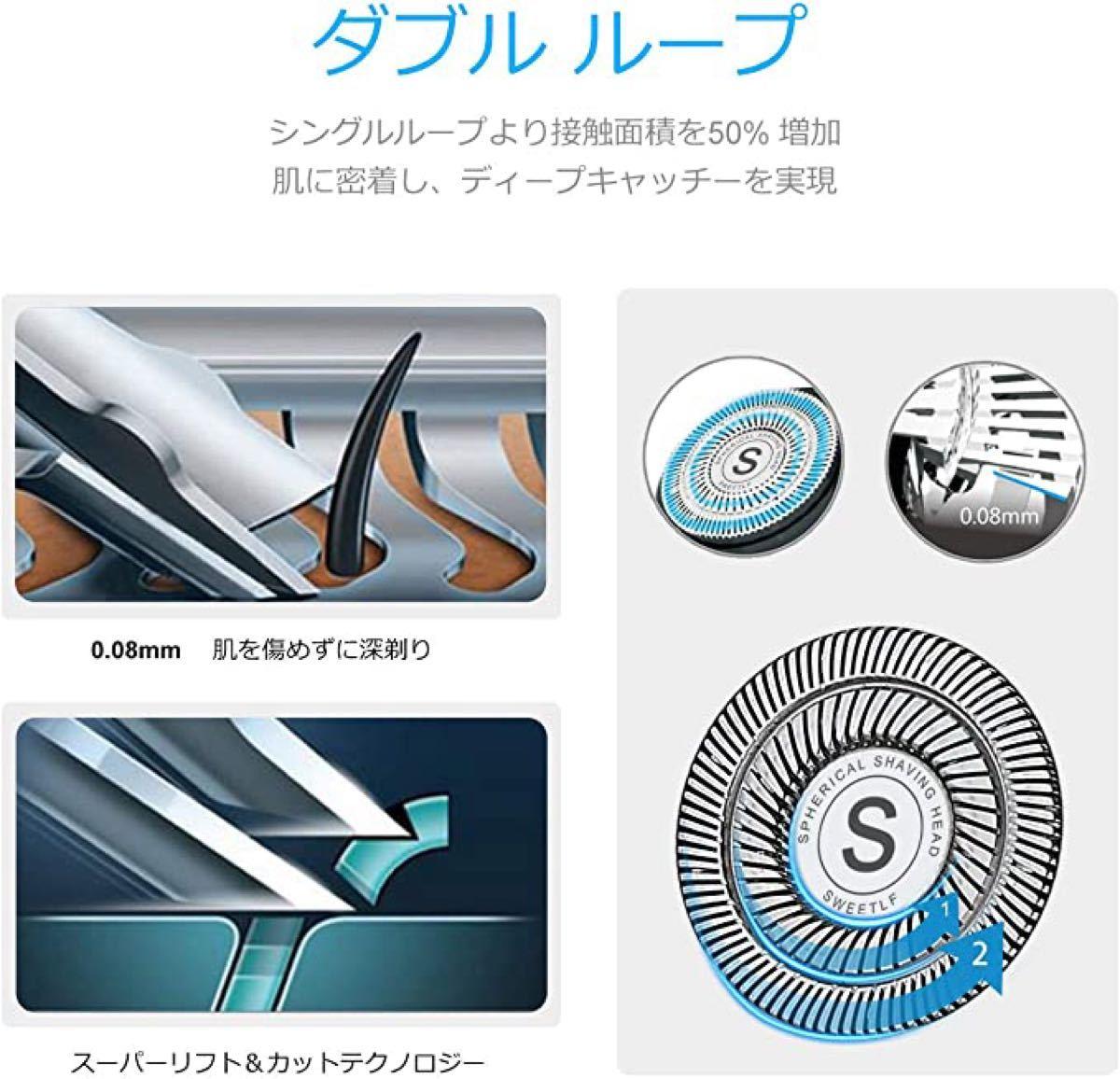 電気シェーバー メンズ ひげそり 回転式 3枚刃 USB充電式 IPX7防水 お風呂剃り可 トリマー付 LED電池残量表示 (青)