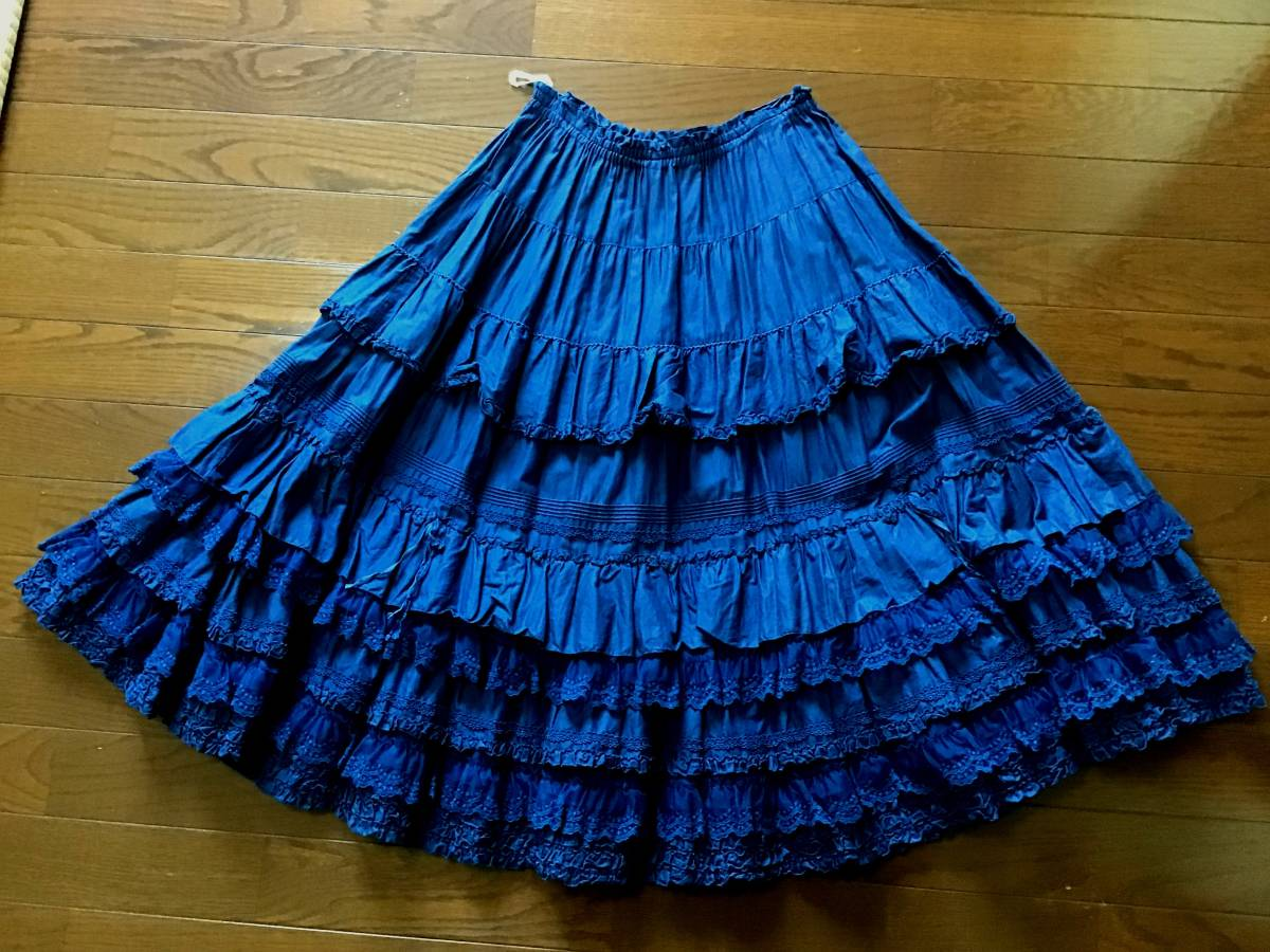 美品 ピンクハウス チュールレース ピンタック フリル 豪華スカート